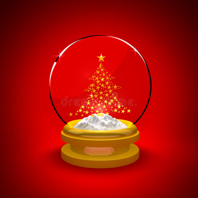Globo da neve com árvore de Natal ilustração do vetor