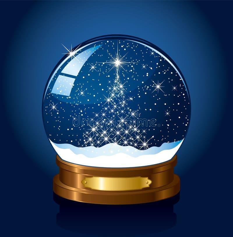 Globo da neve com estrelas ilustração stock