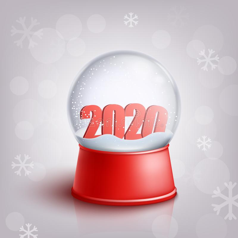 Globo da neve com 2020 números vermelhos do ano novo para dentro no estilo realístico ilustração stock