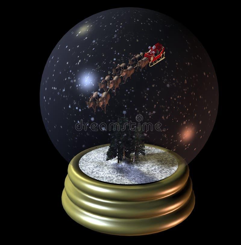 Globo da neve de Santa do vôo ilustração stock