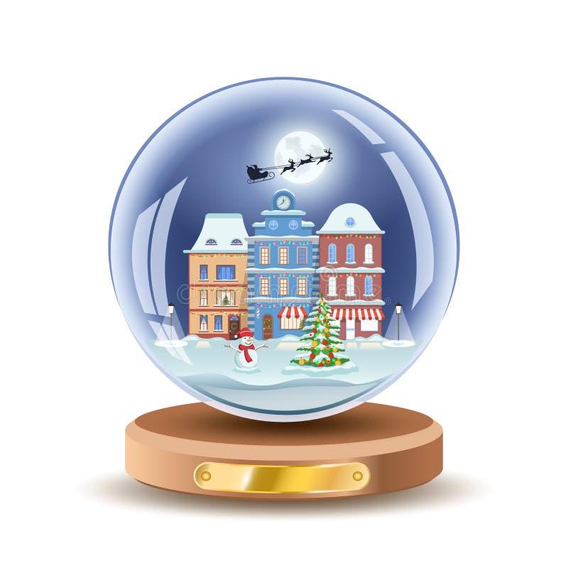 Globo da neve do Natal com as casas de cidade pequena Illusrtation da bola de vidro do presente do Xmas do vetor Isolado na cor b ilustração royalty free