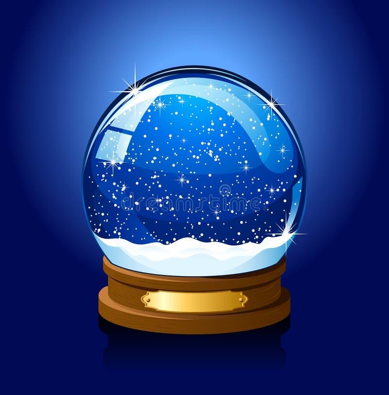Globo da neve do Natal no fundo azul ilustração royalty free