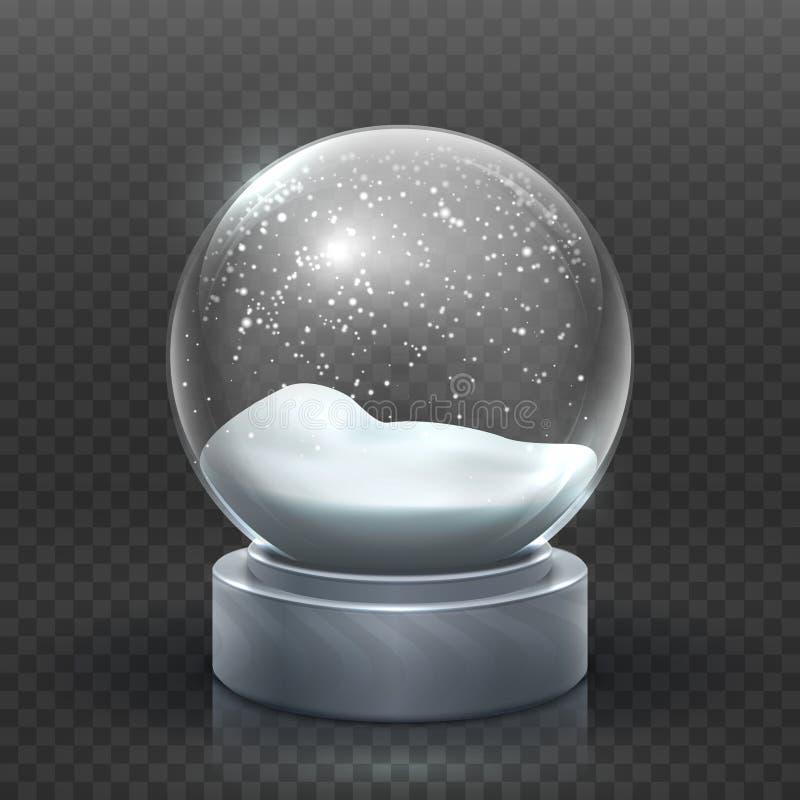 Globo da neve Snowglobe do feriado do Natal, bola de neve vazia do xmas do vidro Molde mágico nevado do vetor da bola ilustração do vetor