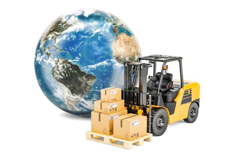 Globo da terra com caminhão e pacotes de empilhadeira Transporte global e ilustração stock