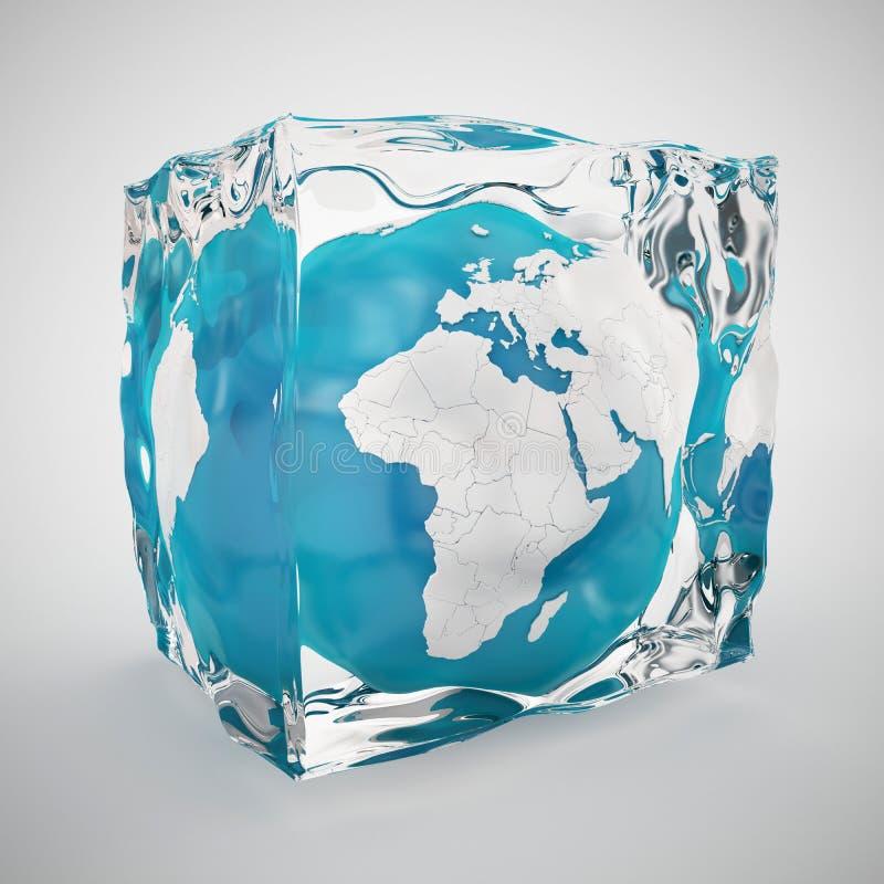 Globo da terra congelado no cubo de gelo ilustração do vetor