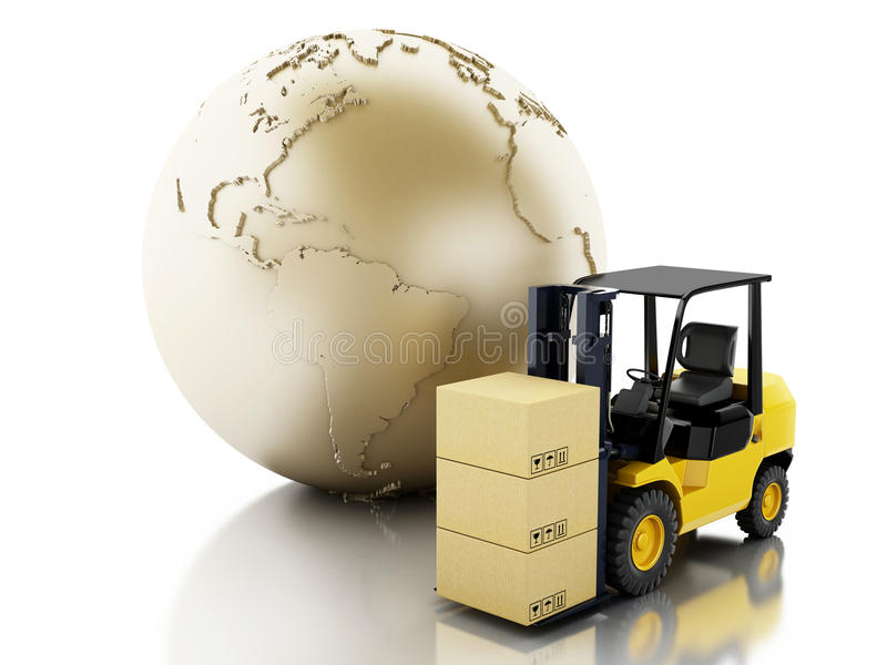 globo da terra 3d com caixas de cartão Conceito do negócio da entrega ilustração stock