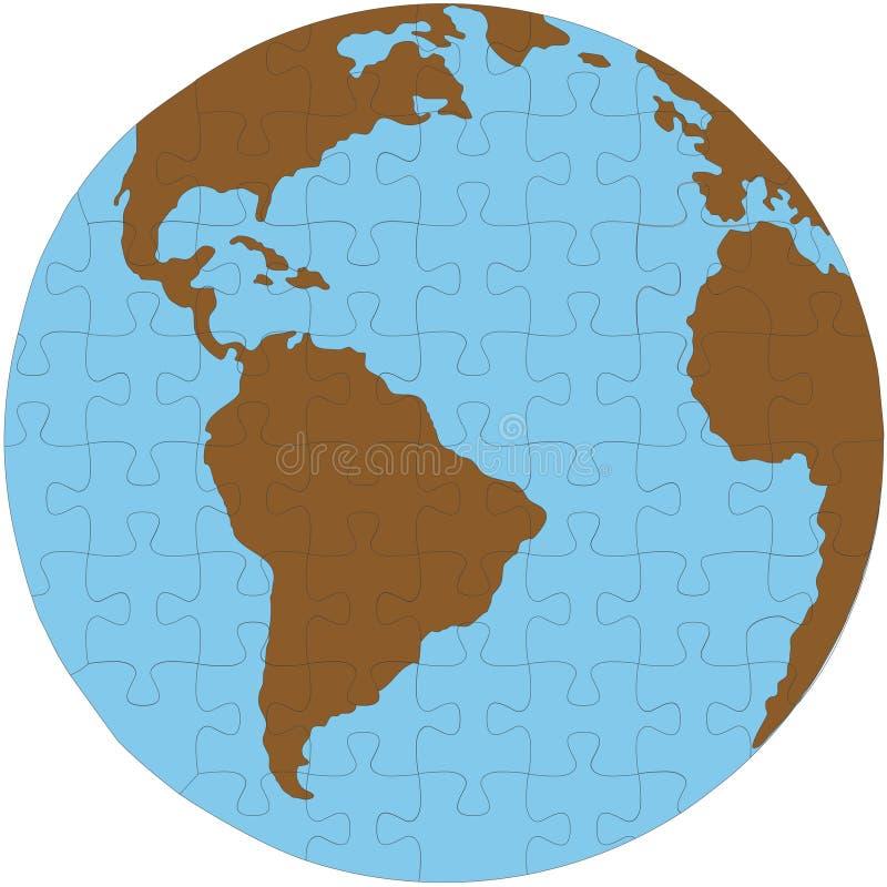 Globo da terra do enigma de serra de vaivém ilustração do vetor