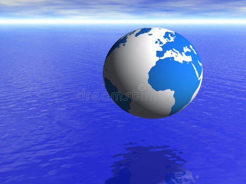 Globo da terra do planeta sobre o oceano azul e o céu nebuloso ilustração do vetor