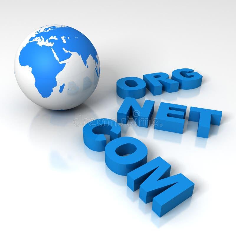 Globo da terra do World Wide Web com domínios líquidos de COM Org ilustração do vetor