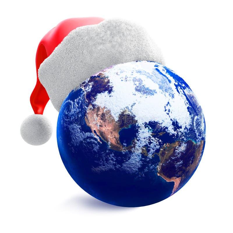 Globo da terra e chapéu de Santa ilustração do vetor