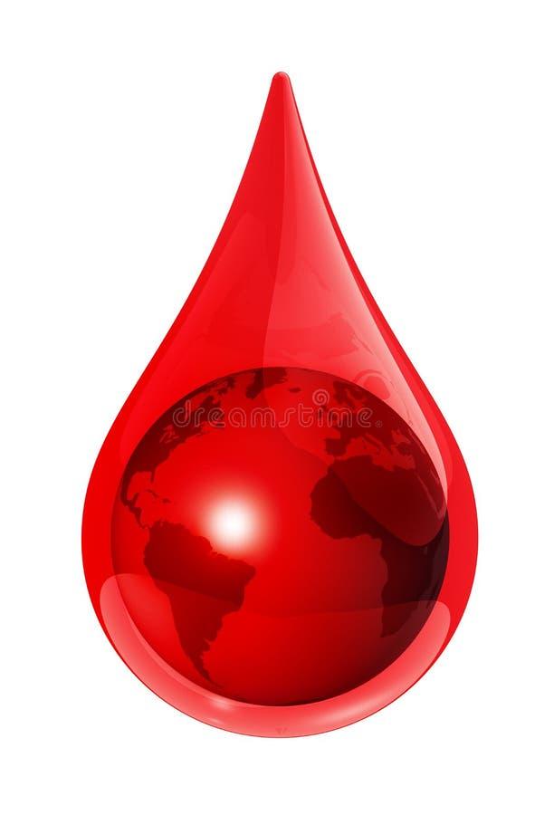 Globo da terra em uma gota do sangue ilustração do vetor