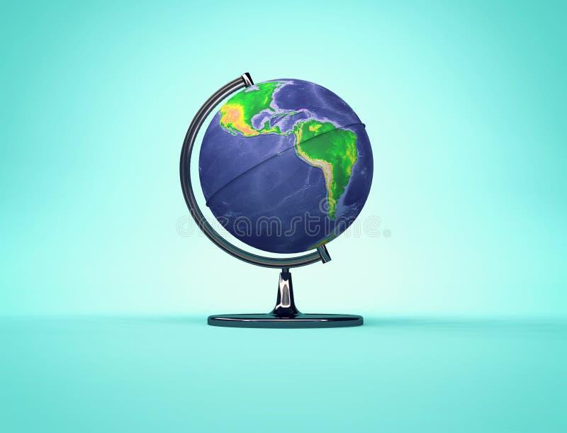 Globo da terra da mesa com lado americano dos continentes ilustração do vetor