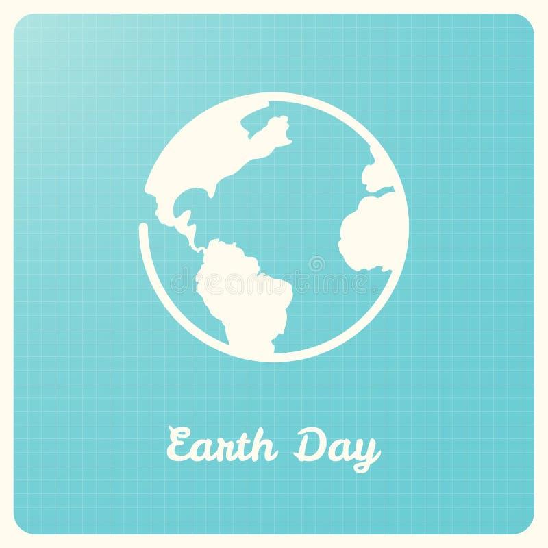 Globo da terra no fundo azul do gráfico Sinal do Dia da Terra ilustração do vetor