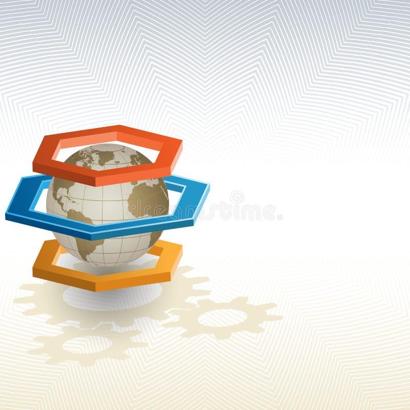 Globo da terra quadro por três hexágonos das dimensões ilustração stock