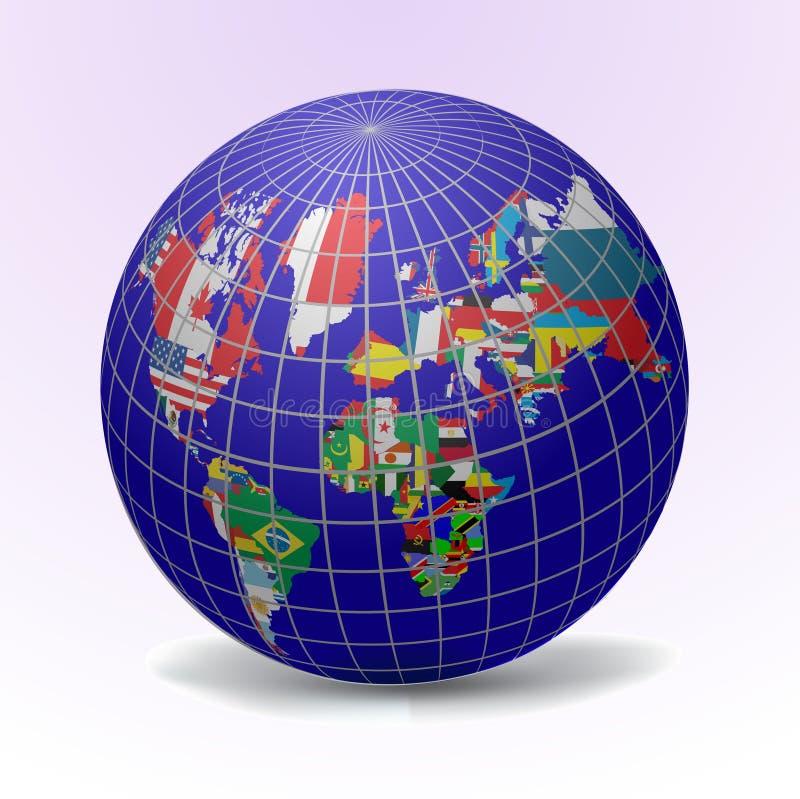 Globo das bandeiras com mapa de mundo ilustração stock