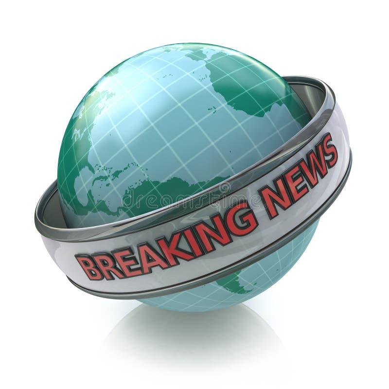 Globo das notícias de última hora em 3D que inclui o trajeto de grampeamento ilustração royalty free
