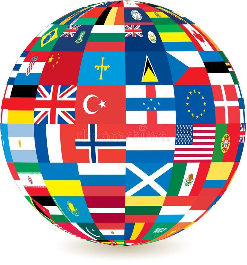 Globo de bandeiras de países do mundo ilustração royalty free