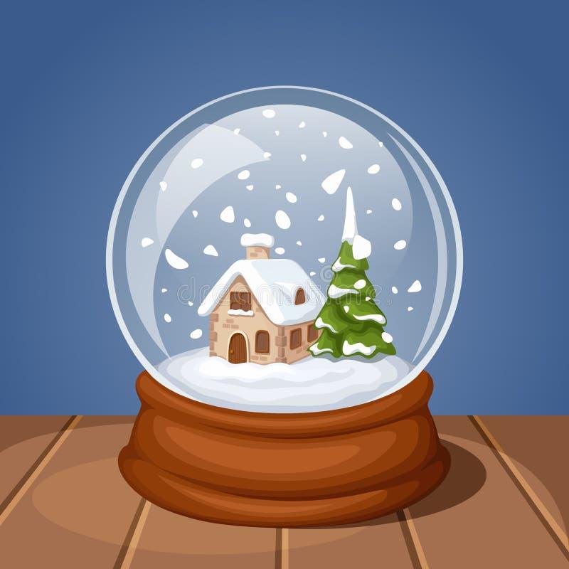 Globo de cristal de la nieve de la Navidad con la casa y el abeto Ilustración del vector stock de ilustración