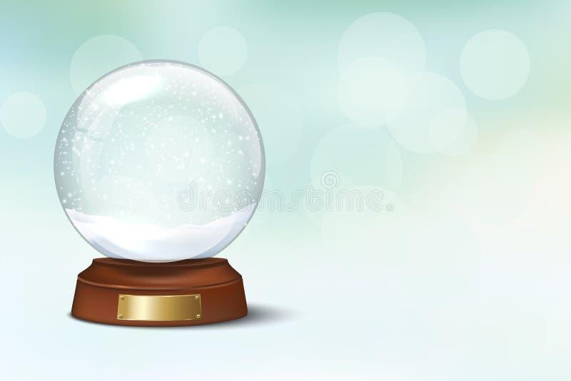 Globo de cristal de la nieve con nieve en fondo borroso de las vacaciones de invierno Modelo del diseño de la Navidad del vector  libre illustration