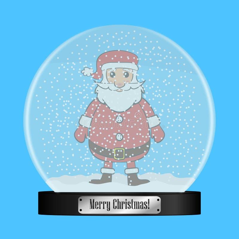 Globo de cristal de la nieve con Santa Claus dentro Bola realista del snowglobe con los copos de nieve del vuelo Regalo de la Nav libre illustration