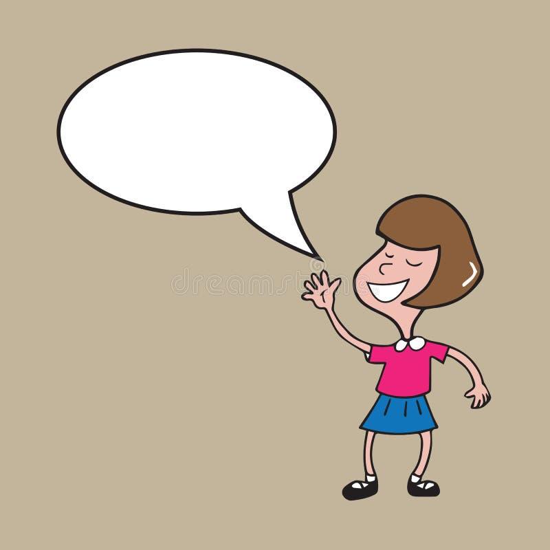 Globo de discurso de la muchacha ilustración del vector