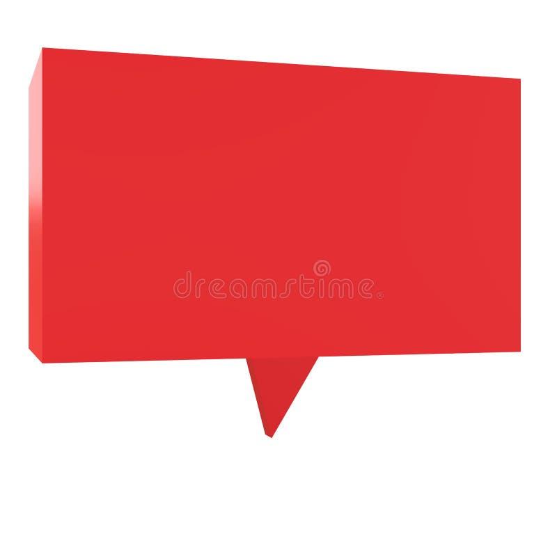 globo de discurso del diálogo 3d en el fondo blanco ejemplo 3d de la burbuja roja del discurso Charla 3d Símbolo de la charla stock de ilustración