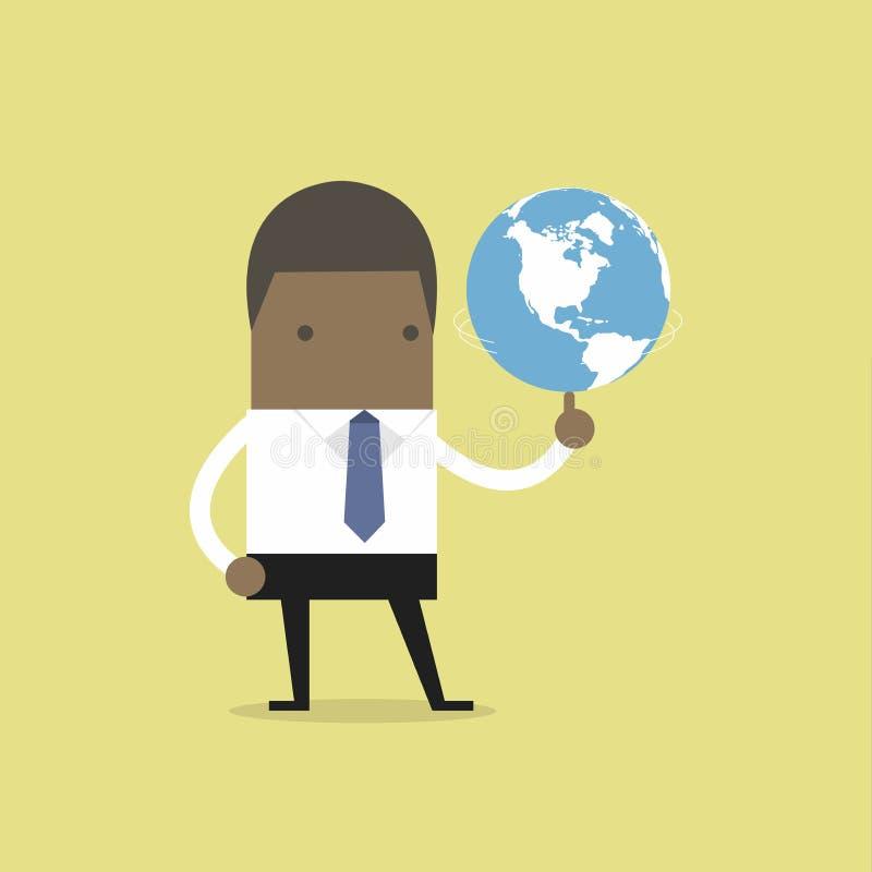 Globo de giro del hombre de negocios africano libre illustration