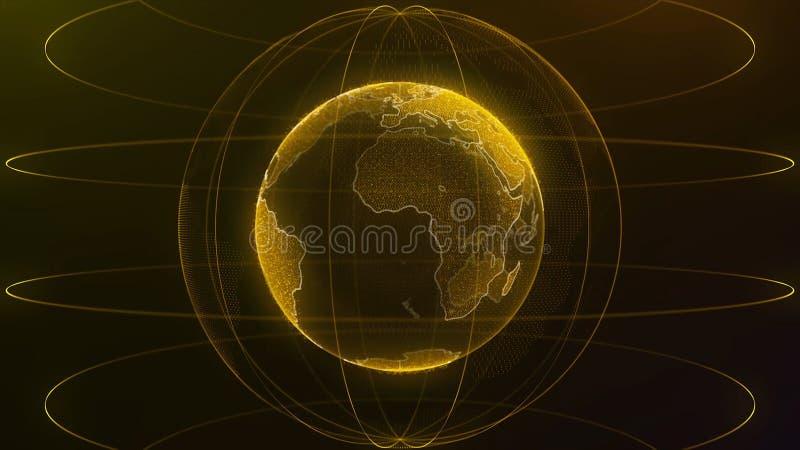 Globo de giro futurista abstrato do mundo nas partículas ou em pontos pequenos Fundo moderno da tecnologia para a transmissão vir ilustração stock