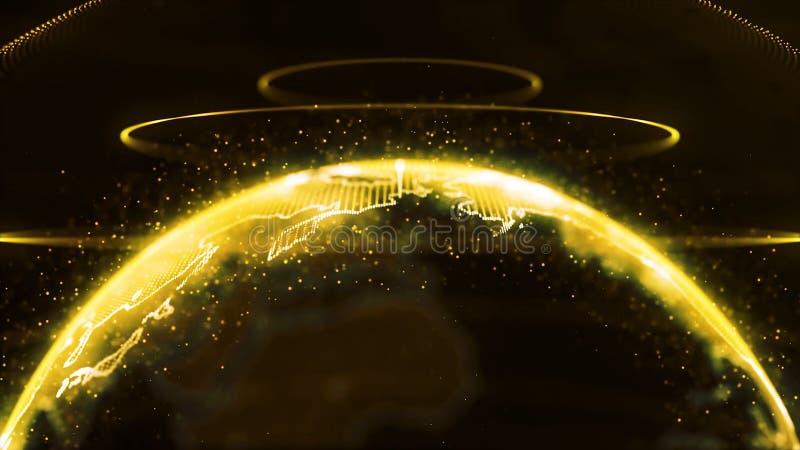 Globo de giro A terra do planeta como um holograma do fulgor alaranjado com arco do poder alinha Holograma futurista da terra do  ilustração do vetor