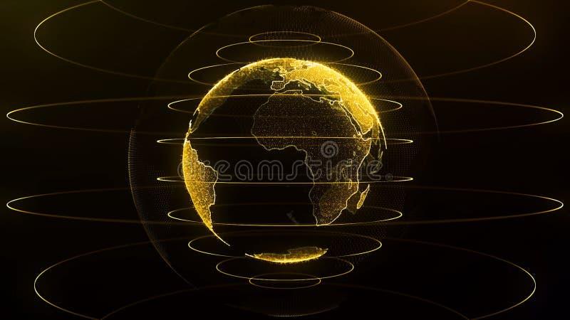 Globo de giro A terra do planeta como um holograma do fulgor alaranjado com arco do poder alinha Holograma futurista da terra do  ilustração royalty free