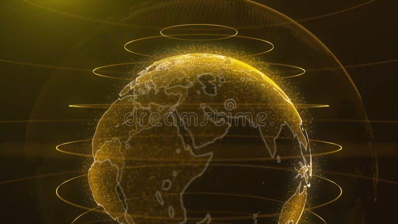 Globo de giro A terra do planeta como um holograma do fulgor com arco do poder alinha LAÇO do fundo da tecnologia Giro da terra d ilustração stock