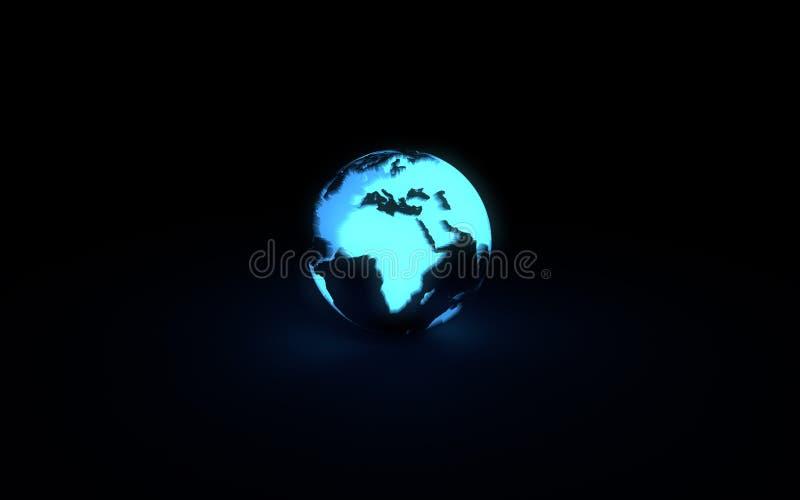 Globo de incandescência azul abstrato da terra no fundo preto ilustração do vetor