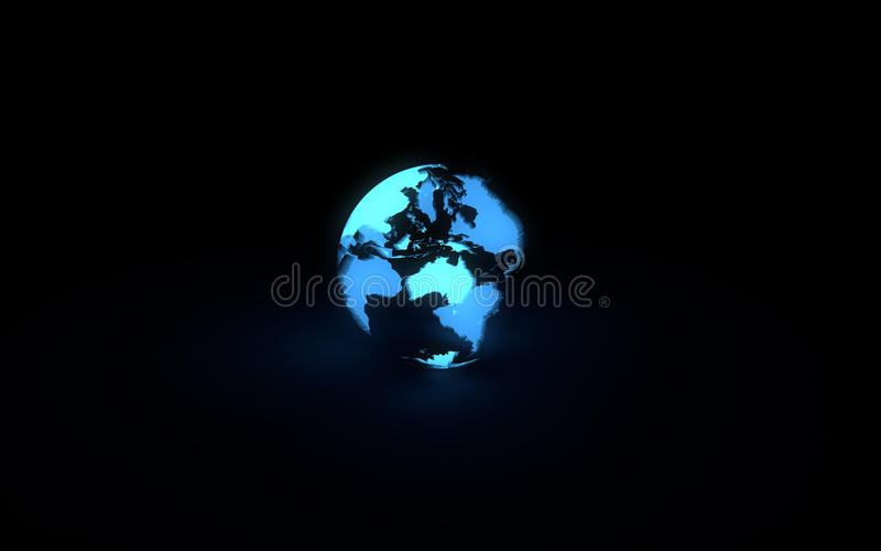 Globo de incandescência azul abstrato da terra no fundo preto ilustração stock