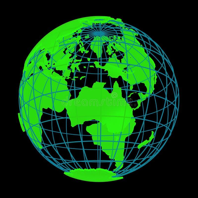Globo de incandescência do cyber 3D do planeta da terra ilustração royalty free