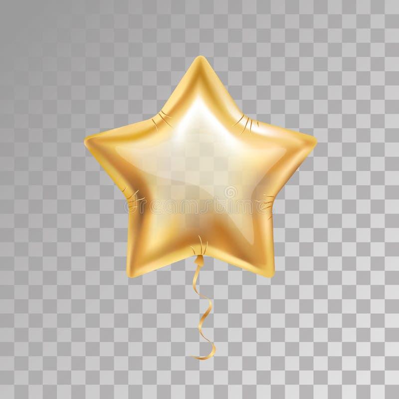 Globo de la estrella del oro ilustración del vector