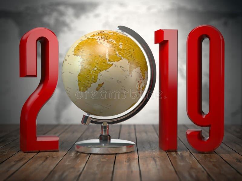 globo de la Feliz Año Nuevo 2019 ilustración del vector