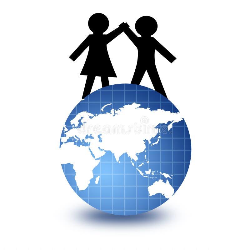 Globo de la gente y del mundo stock de ilustración