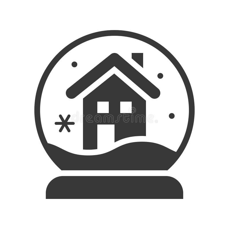 Globo de la nieve de la casa de la Navidad, sistema llenado del icono de la Feliz Navidad ilustración del vector