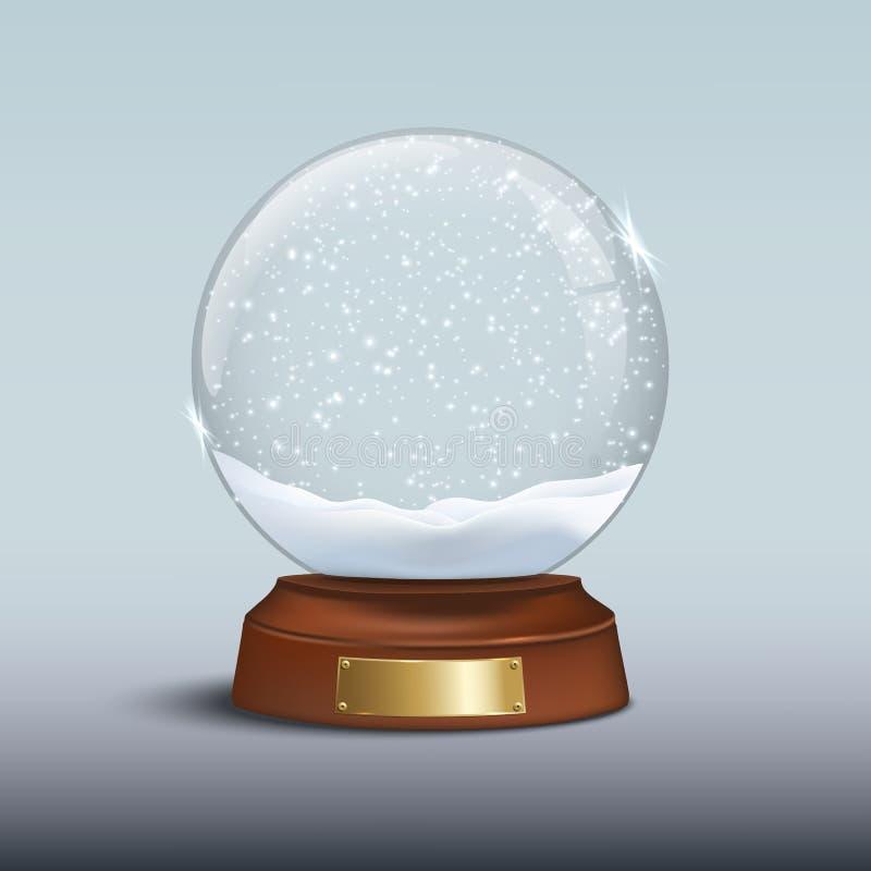 Globo de la nieve con nieve brillante e insignia de oro en base de madera marrón Elemento del diseño de la Navidad del vector libre illustration