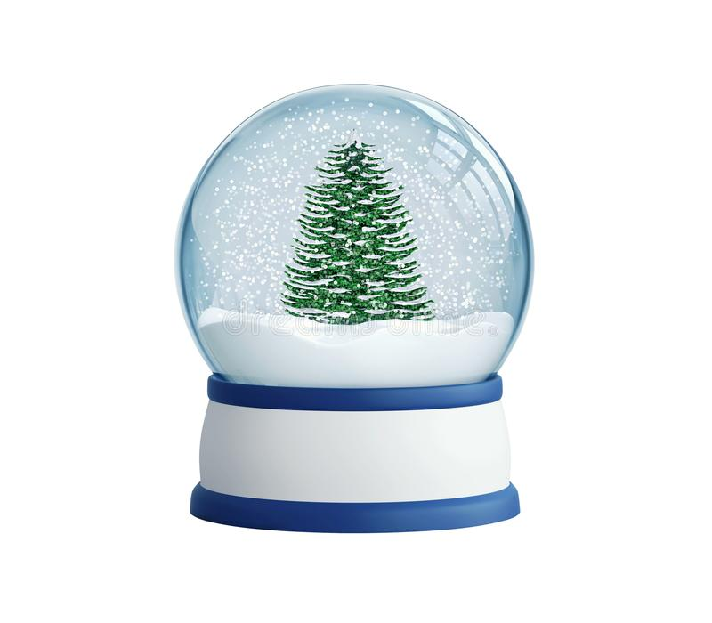 Globo de la nieve con el árbol de navidad, con la trayectoria de recortes libre illustration