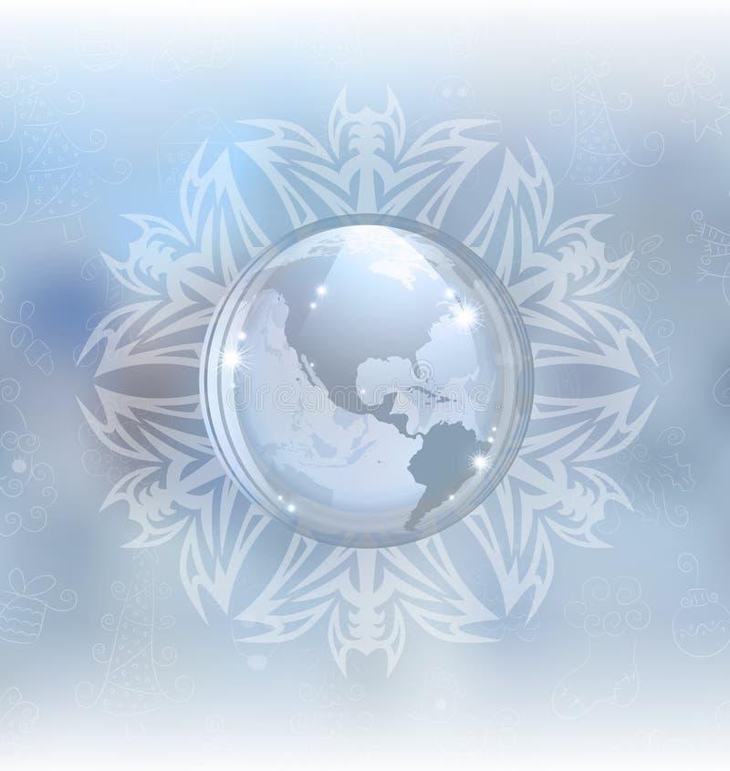 Globo de la nieve con el mapa ilustración del vector