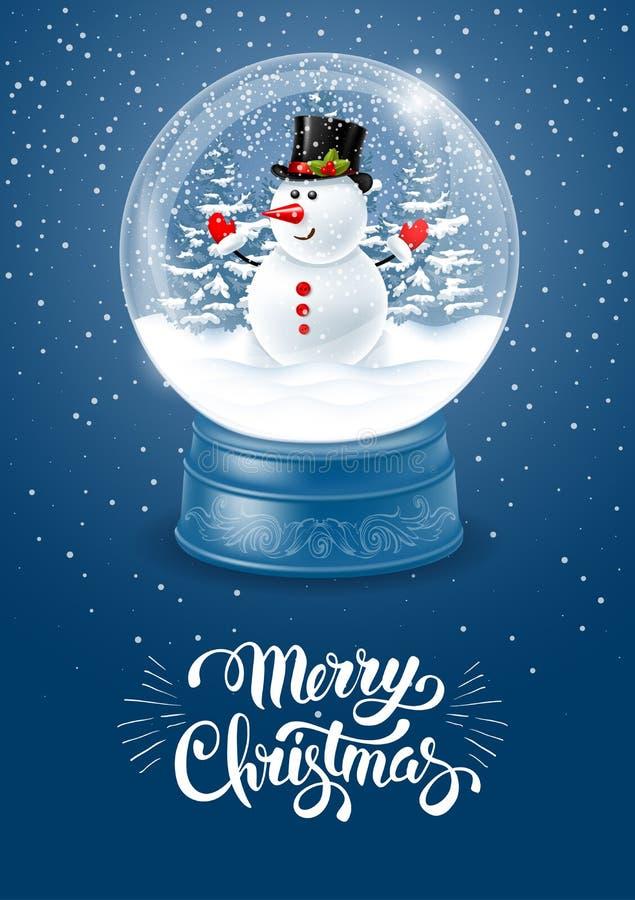 Globo de la nieve con el muñeco de nieve stock de ilustración