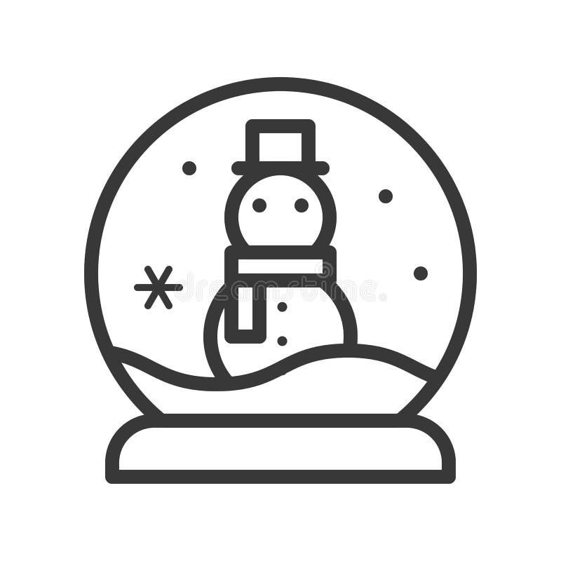 Globo de la nieve con el muñeco de nieve, sistema del icono de la Feliz Navidad, desig del esquema stock de ilustración