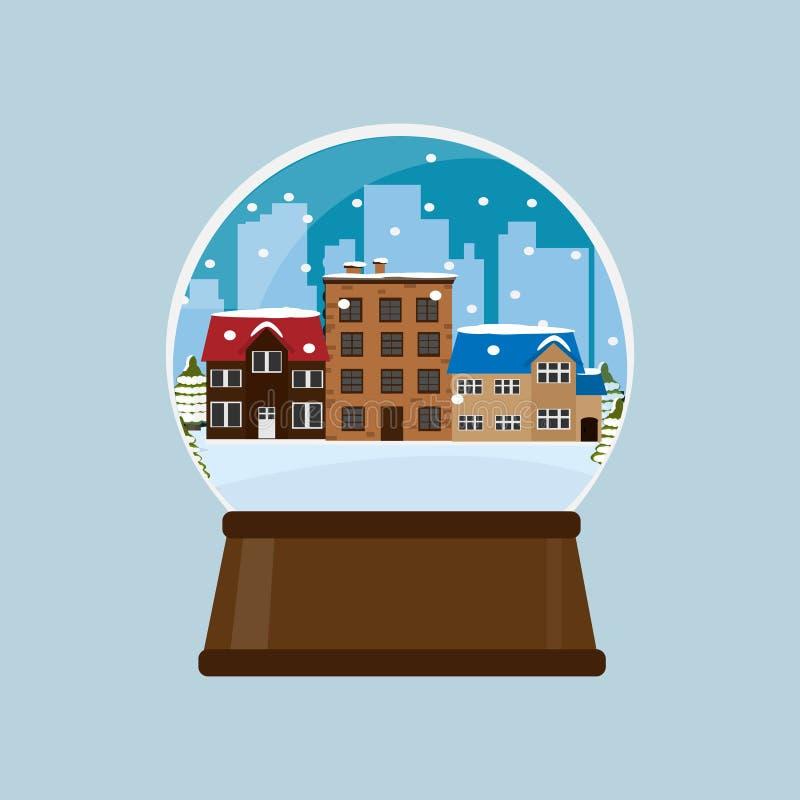 Globo de la nieve con la ciudad del invierno en la nieve foto de archivo libre de regalías