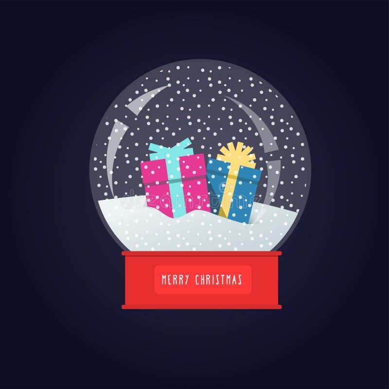 Globo de la nieve con los regalos de empaquetado en un soporte ilustración del vector