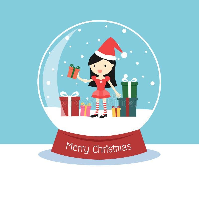 Globo de la nieve con una mujer de Papá Noel y las cajas de regalo dentro stock de ilustración