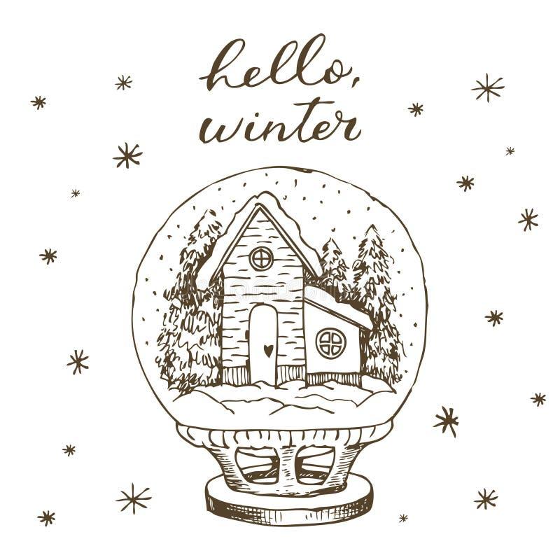 Globo de la nieve del invierno con el interior de la casa y de la nieve Línea exhausta de la mano de la mano blanco y negro exhau libre illustration