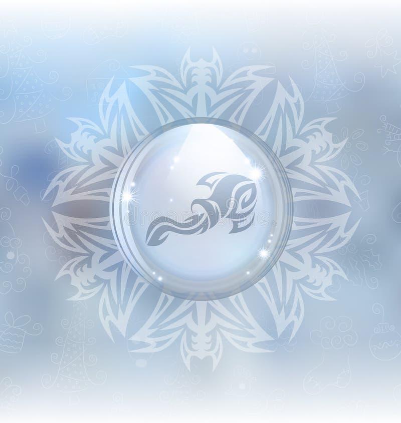 Globo de la nieve del vector con el acuario de la muestra del zodiaco libre illustration
