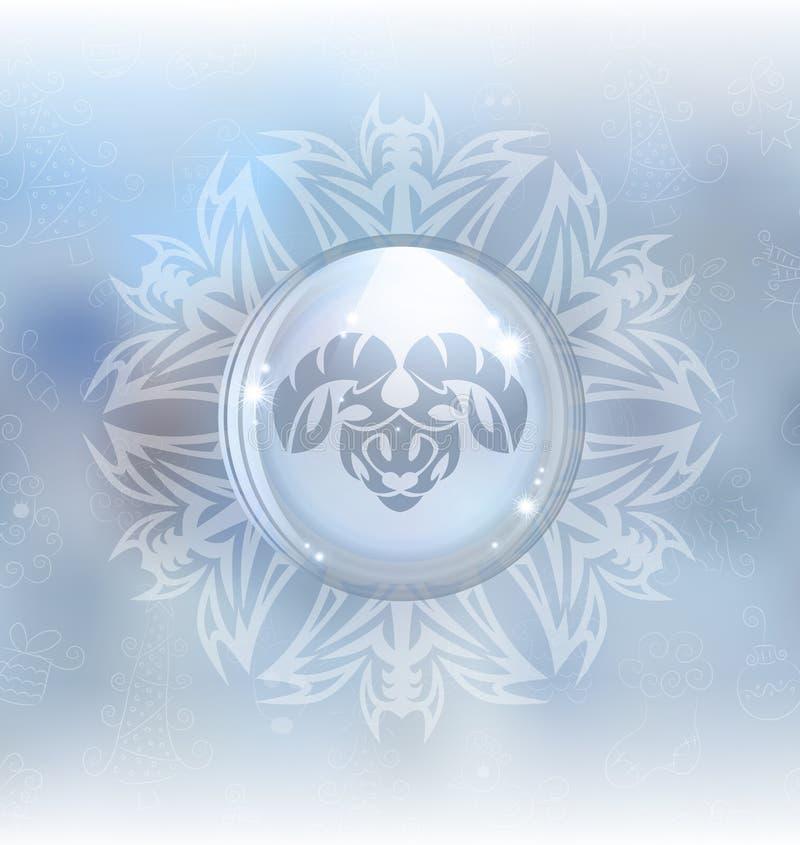 Globo de la nieve del vector con el aries de la muestra del zodiaco ilustración del vector