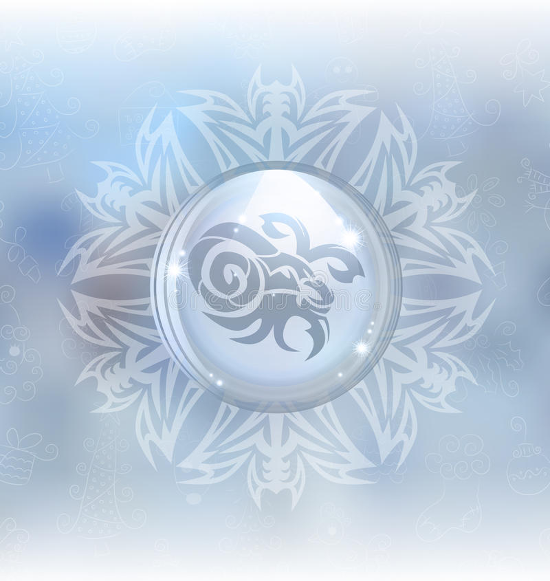 Globo de la nieve del vector con el Capricornio de la muestra del zodiaco libre illustration